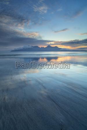 sunset over the isle of rhum