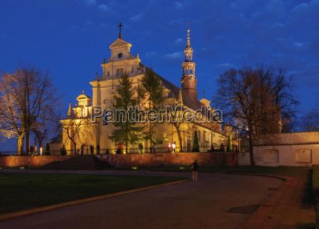 kielce cathedral basilica at twilight kielce