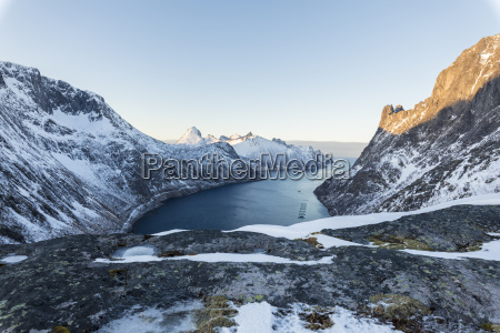 top view of snowy peaks and
