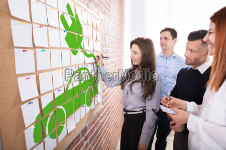 business people planning eco car