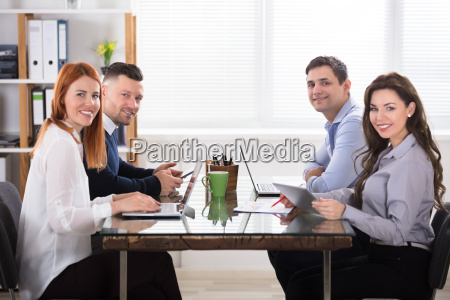 happy business people at workplace