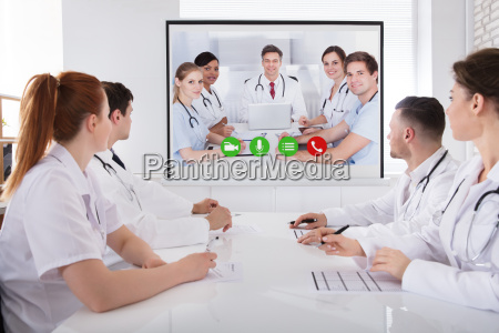 doctors having video conference