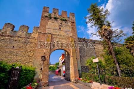 town of lazise entrance walls view