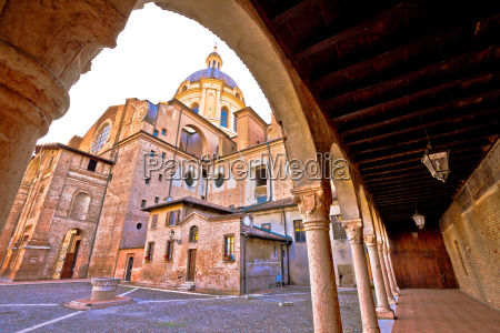 mantova city cathedral and arches view