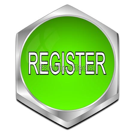 glossy green register button 3d
