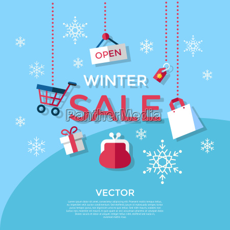 digital vector blue winter sale shopping