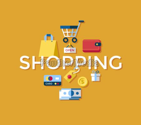 digital vector yellow shopping sale icons