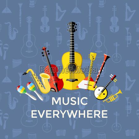 digital vector blue music everywhere instruments
