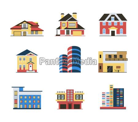 digital vector blue red city buildings