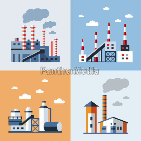 digital vector blue factory pollution icons