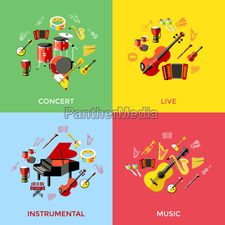 digital vector green music instruments icons