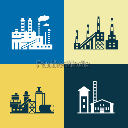 digital vector blue yellow factory pollution