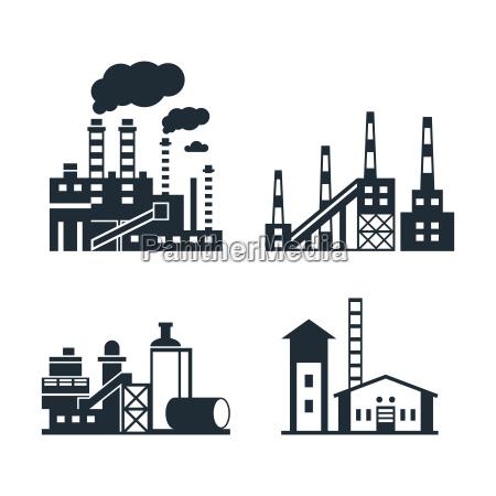 digital vector black factory pollution icons