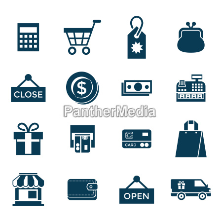 digital vector blue shopping sale icons