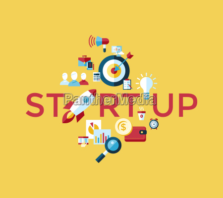 digital vector yellow startup team icons