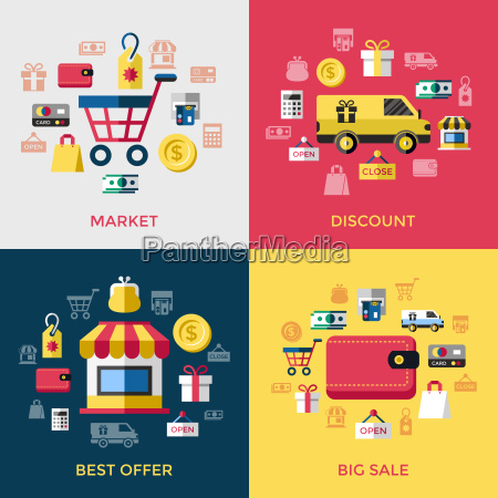 digital vector yellow red shopping sale