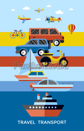 digital vector red yellow blue travel