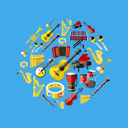 digitale vektor blau musik instrumente symbole