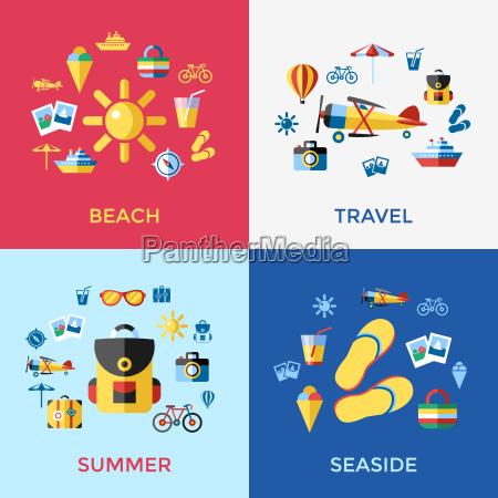 digital vector blue red beach travel