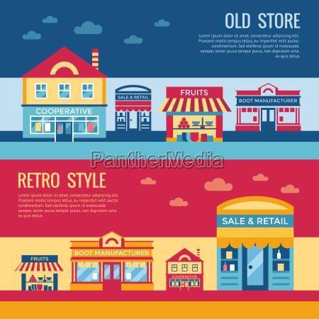 digital vector red blue retro supermarket
