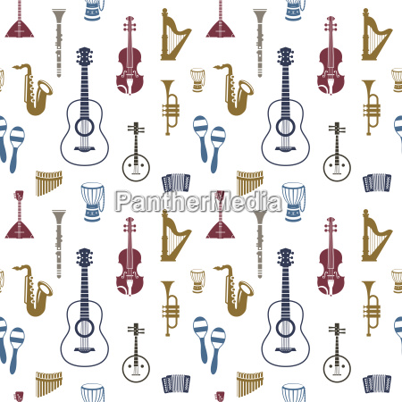 digital vector blue red music instruments