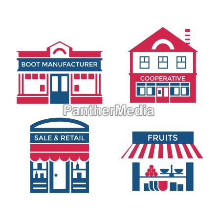 digital vector red blue supermarket icons