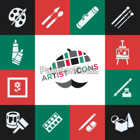 digital vector green red artist icons