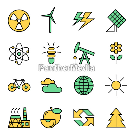 digital vector yellow green ecology icons