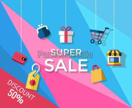 digital vector yellow blue pink shopping