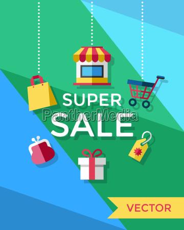digital vector yellow blue green shopping
