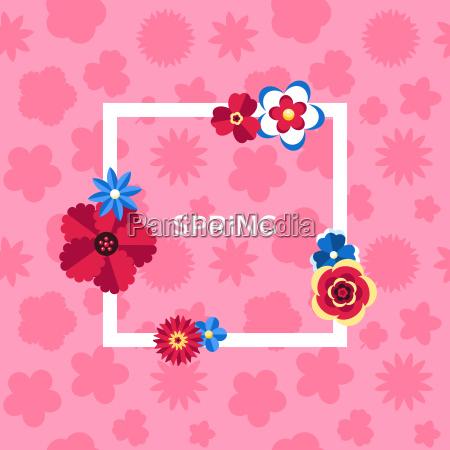 digital vector pink flowers set icons