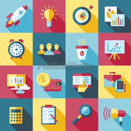 digital vector red startup icons with