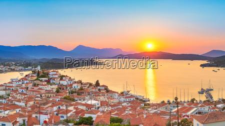 sunset in greece poros