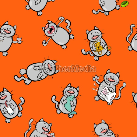 karikatur tapetenentwurf mit katzen