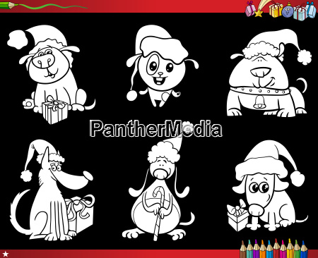 cartoon dogs on christmas set coloring