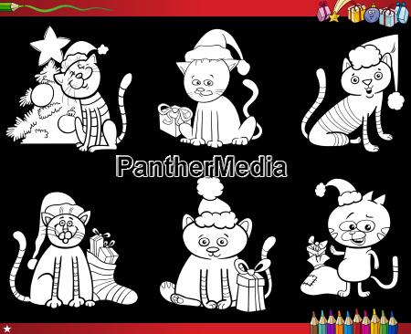katzen auf weihnachten set malbuch
