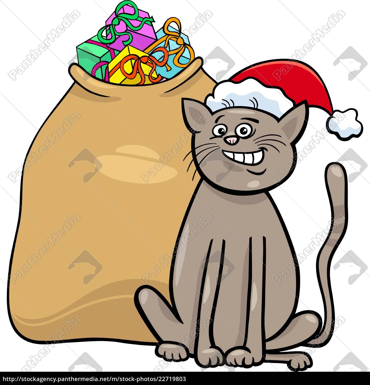 Weihnachtsgeschenke Sack.Lizenzfreie Vektorgrafik 22719803 Katze Mit Weihnachtsgeschenke Cartoon