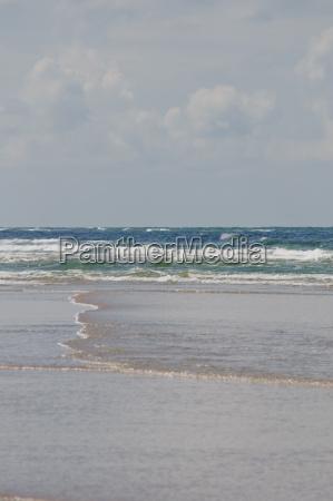 sandstrand der nordseekueste an einem windigen