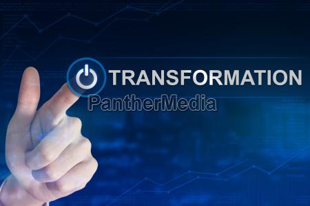 business hand klicken transformation schaltflaeche