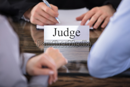 judge name plate on desk