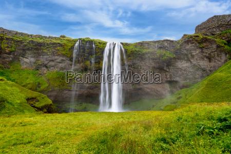 wasserfall, seljalandsfoss, im, sommer, island - 22721115