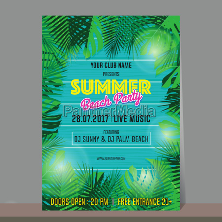 summer beach party design template for