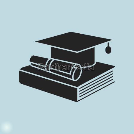 bildung symbol graduierung cap buch und