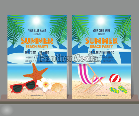 set of summer beach party design
