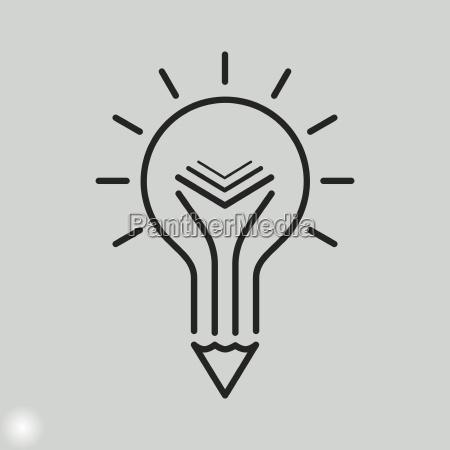 kreative, bildungs-ikone., glühbirne, bleistift, und, buch - 22723549
