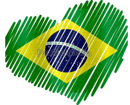 brasilienherzflagge metallbeschaffenheit