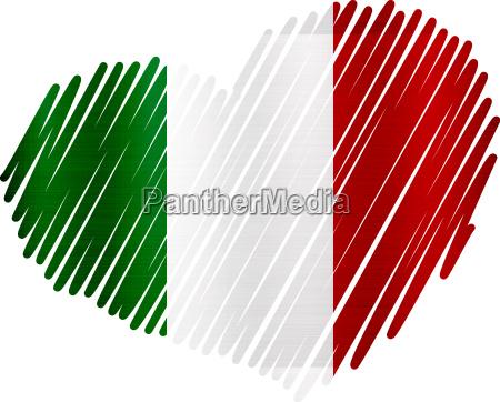 italien herz flagge metall textur