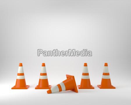 orange traffic cones under construction studio