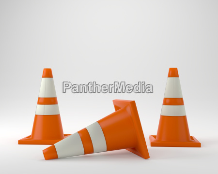 under construction orange traffic cones 3d