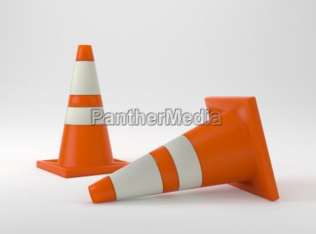 orange construction cone on white background